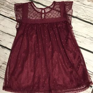 ✨Wine Lacey Babydoll Juniors Top✨